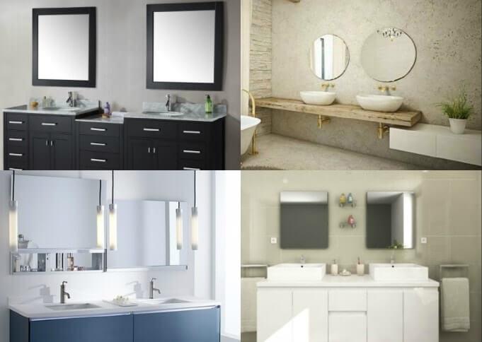 dos espejos en el baño