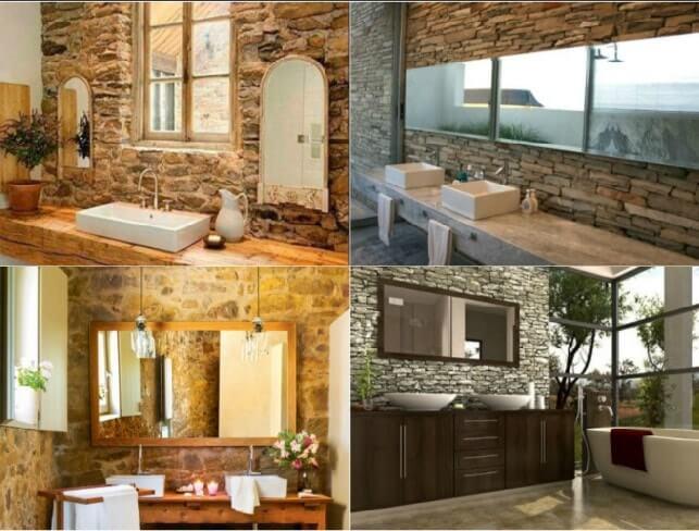 piedra y madera en baño